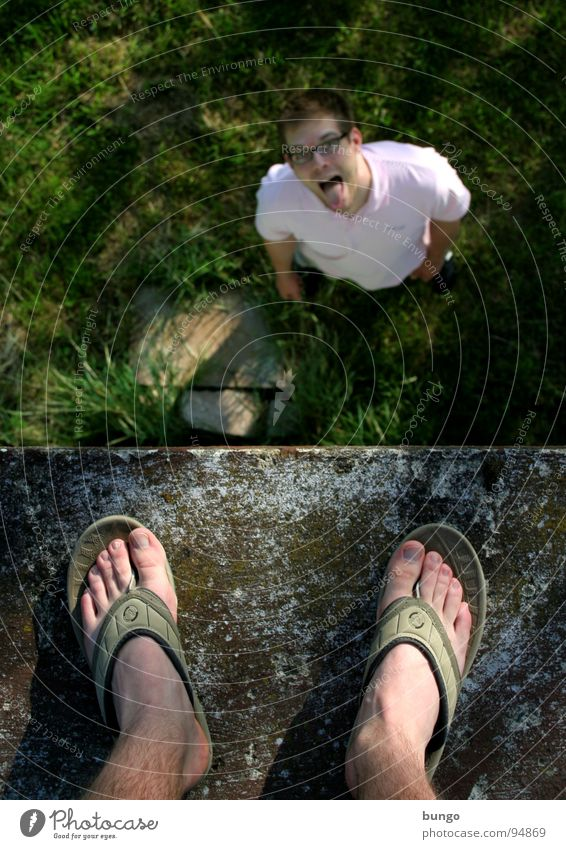 Marc is fun Meadow Grass Toes Flip-flops Footwear Sandal Wall (barrier) Tall Large Small Joke Stand Looking Under Upper body Joy Man Feet Human being Above