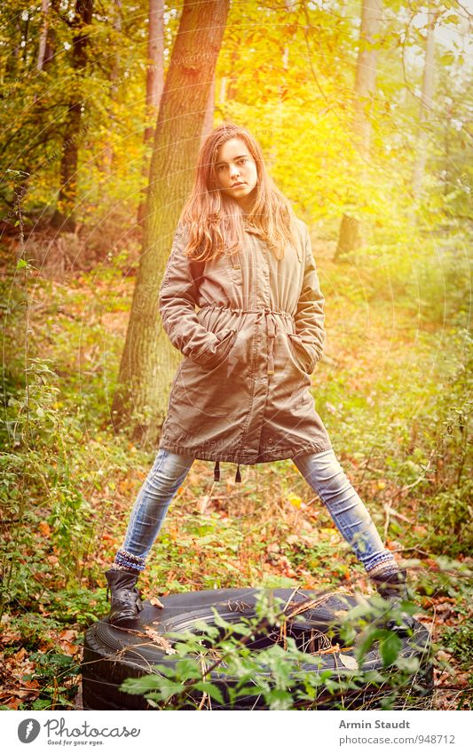 Human being Woman Child Nature Youth (Young adults) Beautiful Forest Adults Life Autumn Feminine Style Moody Fashion Lifestyle 13 - 18 years