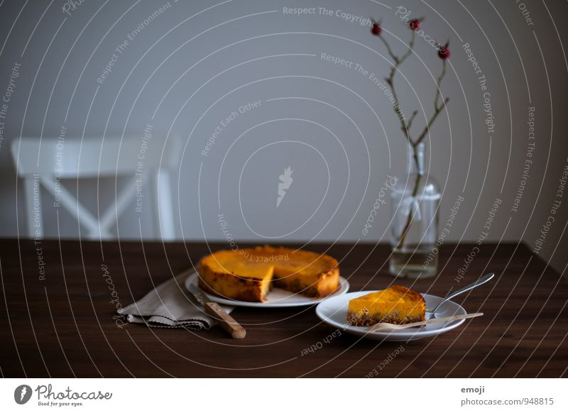 pumpkin Cake Dessert Candy Nutrition Vegetarian diet Crockery Delicious Sweet Living room Pumpkin time Autumnal Colour photo Interior shot Deserted Twilight