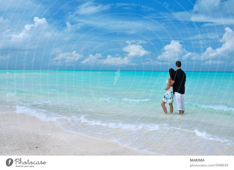 Couple standing in the sea, Maldives Relaxation Calm Vacation & Travel Tourism Summer Sun Beach Ocean Island Waves Human being Woman Adults Man Partner Nature