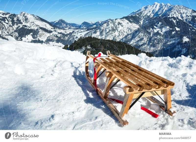 white winter land, wooden sledge Joy Relaxation Vacation & Travel Tourism Sun Winter Mountain Environment Nature Landscape Clouds Weather Forest Rock Alps Wood