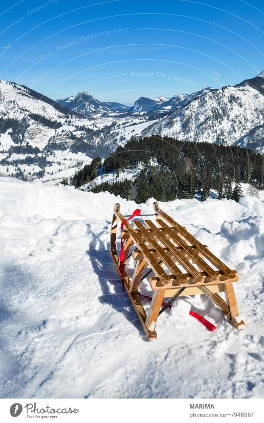 white winter land, wooden sledge Joy Relaxation Vacation & Travel Tourism Winter Mountain Environment Nature Landscape Weather Forest Rock Alps Wood Cold Blue