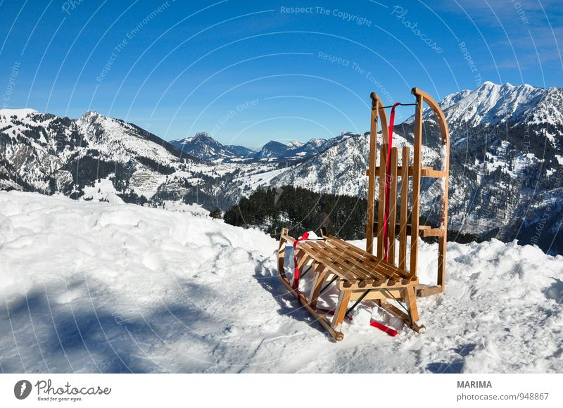 white winter land, wooden sledge Joy Relaxation Vacation & Travel Tourism Winter Mountain Environment Nature Landscape Clouds Weather Forest Rock Alps Wood Cold