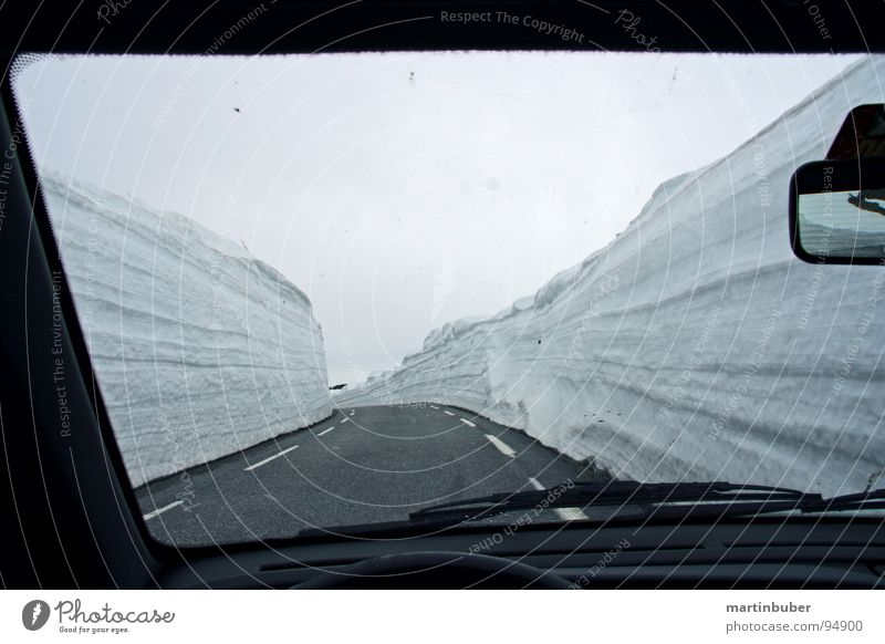 Winter Snow Driving Tracks Narrow Curve Motoring In transit Traffic lane Narrow Pass View from a window Snowdrift Snow layer Winding road Snow mountain