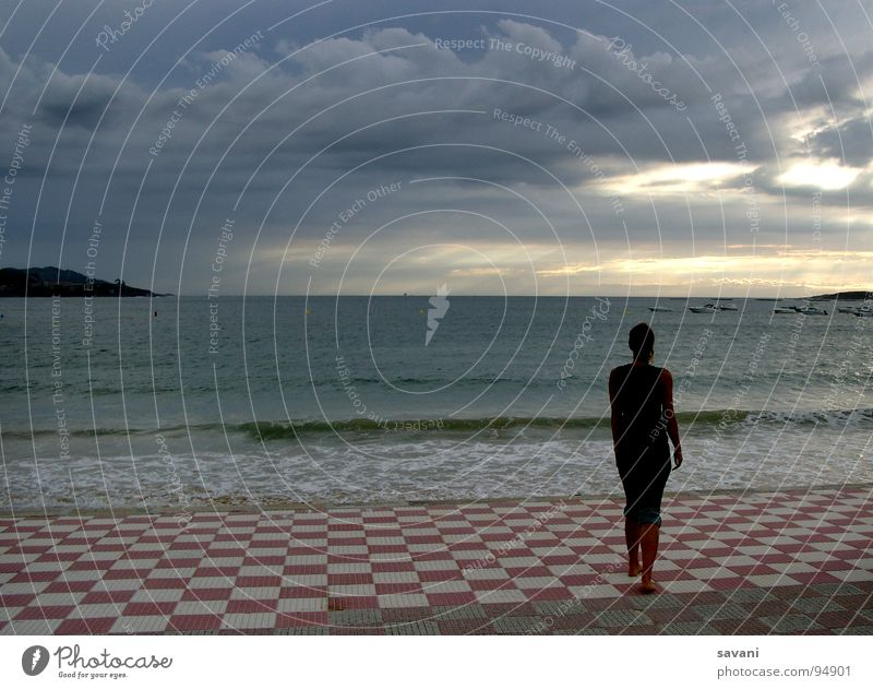 Human being Woman Sky Nature Vacation & Travel Ocean Loneliness Clouds Beach Far-off places Adults Think Dream Horizon Power Waves