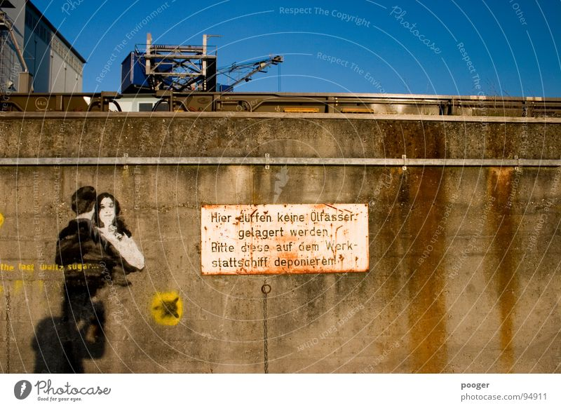Wall (barrier) Graffiti Arrangement Industrial Photography Characters Harbour Derelict Signage Oil Typography Signs and labeling Keg Basel Mural painting
