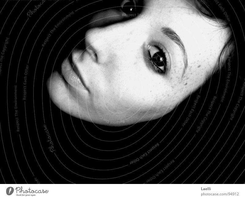 submerge Woman Cheek Freckles Longing Grief Dark Dream Black & white photo Youth (Young adults) Eyes Nose Mouth Looking Lips View into the distance Sadness