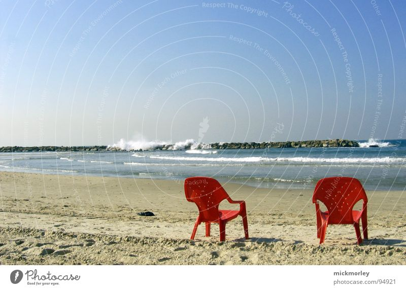 chillout at the sea Ocean Vacation & Travel Relaxation Waves Beach Airplane Red Armchair Hissing Summer club holidays flat-rate big wave Sand Statue