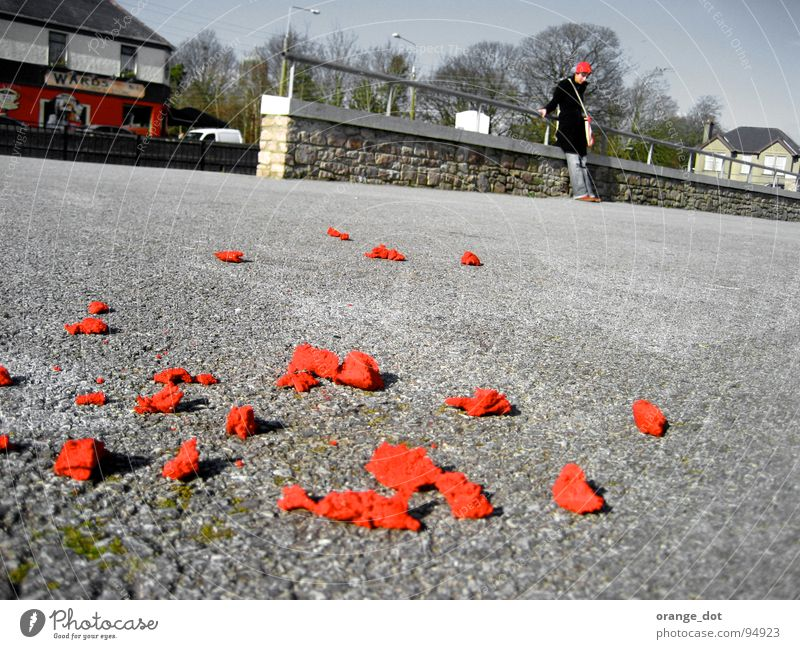 Parking with ROT Red Woman Parking lot Stand Spring Plant House (Residential Structure) Gray Traffic infrastructure Ireland Lie