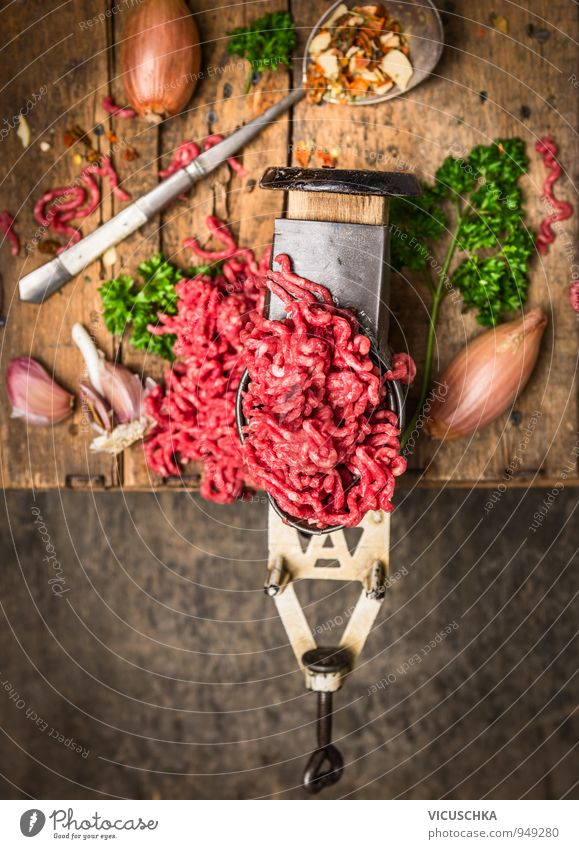 minced meat in an old mincer with herbs and spices Food Meat Sausage Vegetable Herbs and spices Nutrition Lifestyle Style Design Healthy Eating