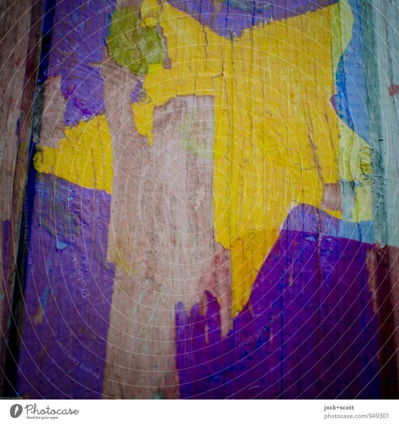 great moment Style Street art Dye Wood grain Star (Symbol) Simple Yellow Violet Creativity Change Double exposure Weathered Incomplete Torn Flaked off