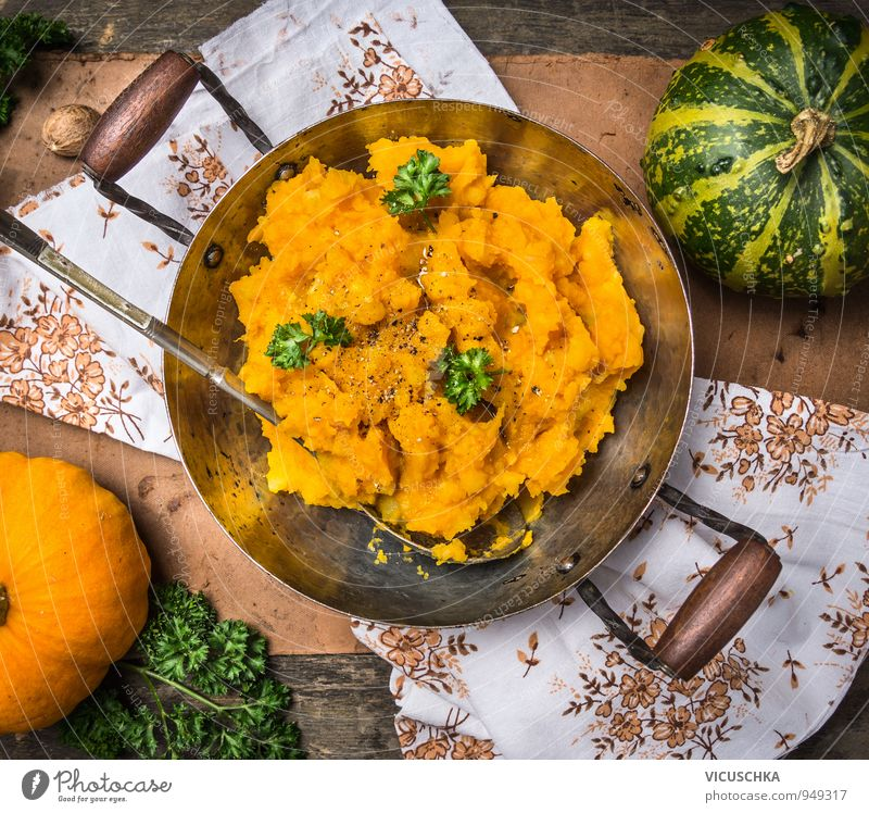 Pumpkin porridge in pot with spoon Food Vegetable Herbs and spices Nutrition Lunch Dinner Banquet Organic produce Vegetarian diet Diet Pot Spoon Style Design