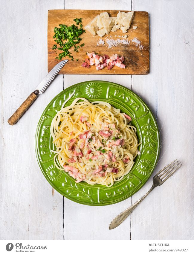 Spaghetti Carbonara in a green plate Food Meat Cheese Vegetable Dough Baked goods Herbs and spices Nutrition Lunch Dinner Organic produce Diet Italian Food