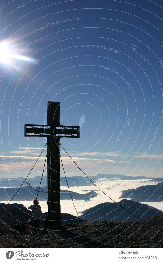 Sky Blue Sun Mountain Moody Hiking Alps Peak Mountaineering Mountaineer Climbing Peak cross