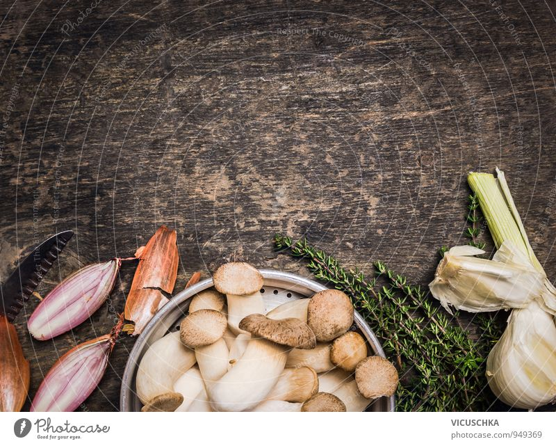 Herbseitlinge mushrooms with spices and thyme Food Vegetable Soup Stew Herbs and spices Nutrition Lifestyle Style Design Healthy Eating Leisure and hobbies