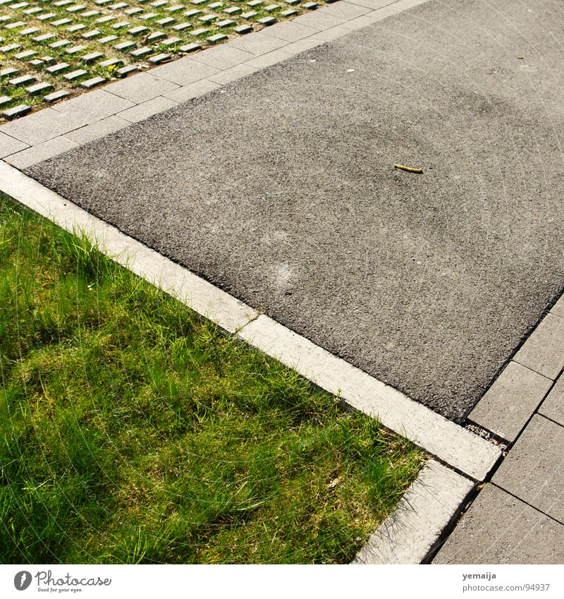 Grass Line Concrete Lawn Floor covering Asphalt Division Traffic infrastructure Parking lot