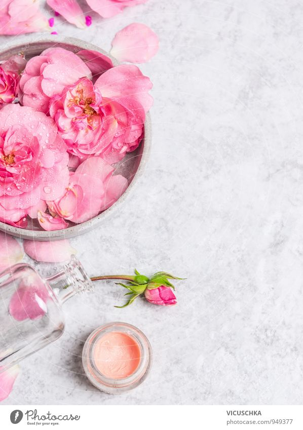 Roses in grey bowl with water and cream Style Design Beautiful Personal hygiene Skin Face Cosmetics Perfume Cream Make-up Wellness Life Well-being Fragrance Spa