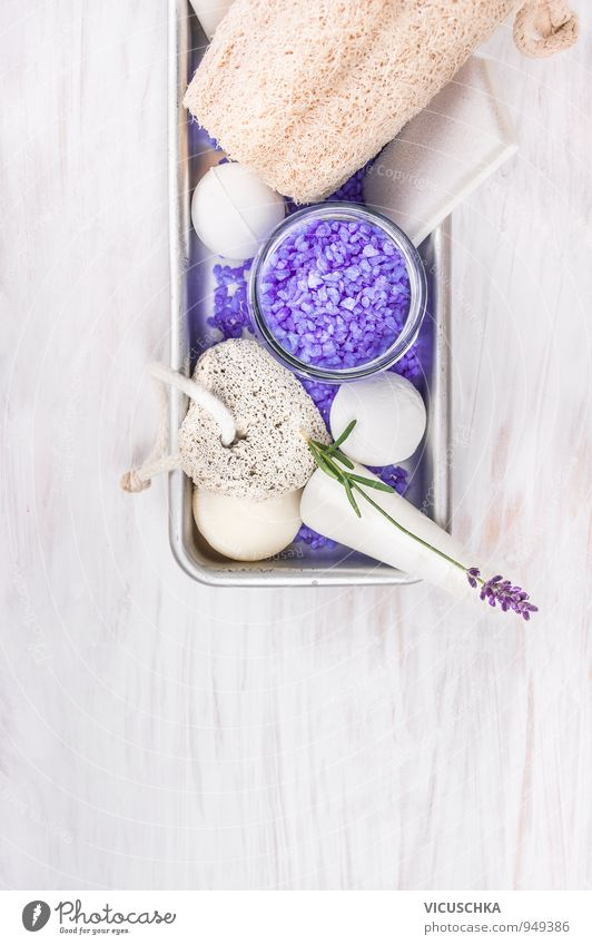 Bath set with lavender, lotion, salt and bubble balls Style Design Cream Wellness Relaxation Fragrance Spa Massage Sauna Swimming & Bathing Bathroom Nature