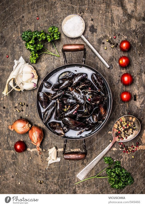 Fresh mussels in a pot with herbs and spices Food Seafood Vegetable Soup Stew Herbs and spices Nutrition Lunch Buffet Brunch Banquet Organic produce