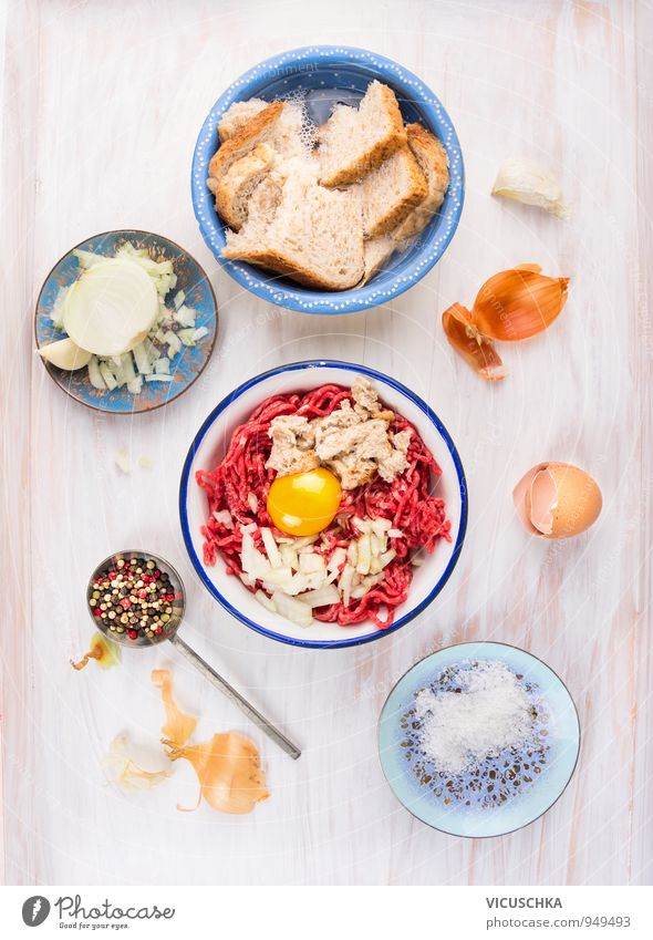 Make meatballs with minced meat Food Fish Vegetable Herbs and spices Nutrition Lunch Dinner Banquet Organic produce Diet Bowl Spoon Restaurant Design Protein