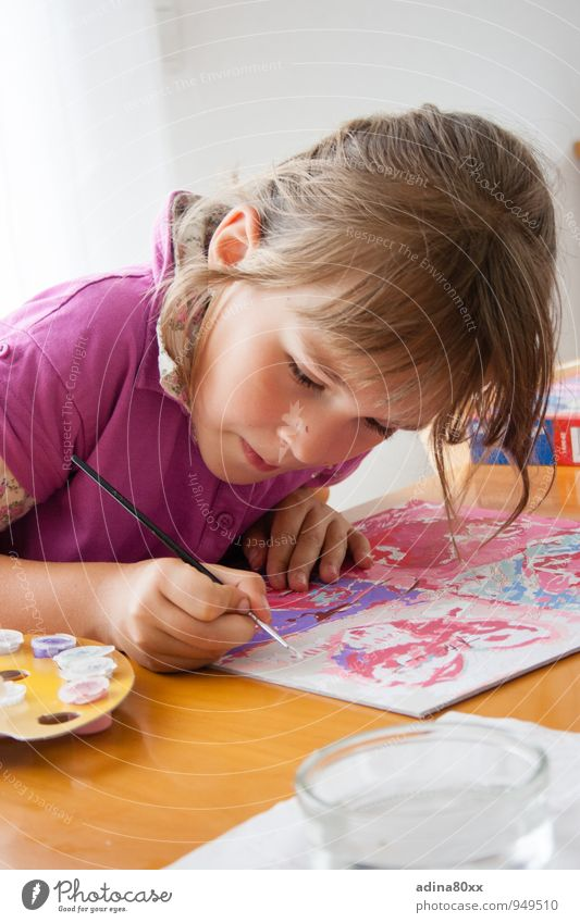 Painting by numbers Parenting Education Kindergarten School Study Classroom Girl Art Artist Painter Painting and drawing (object) Draw Esthetic Beautiful Pink