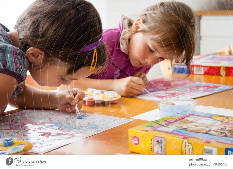Colour Girl Joy Art School Friendship Leisure and hobbies Infancy Success Creativity Study Idea Uniqueness Painting (action, artwork) Education Passion