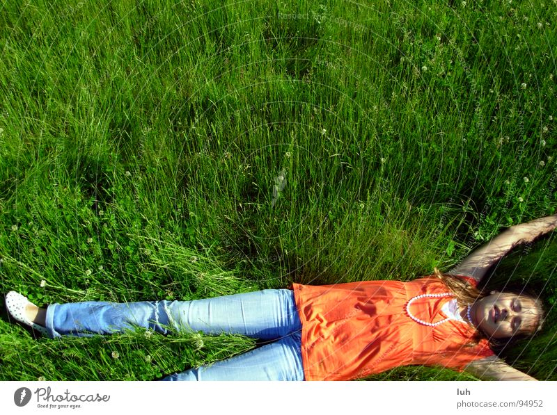 Child Youth (Young adults) Girl Green Summer Relaxation Meadow Jump Style Grass Spring Lawn Lie To enjoy Bum around