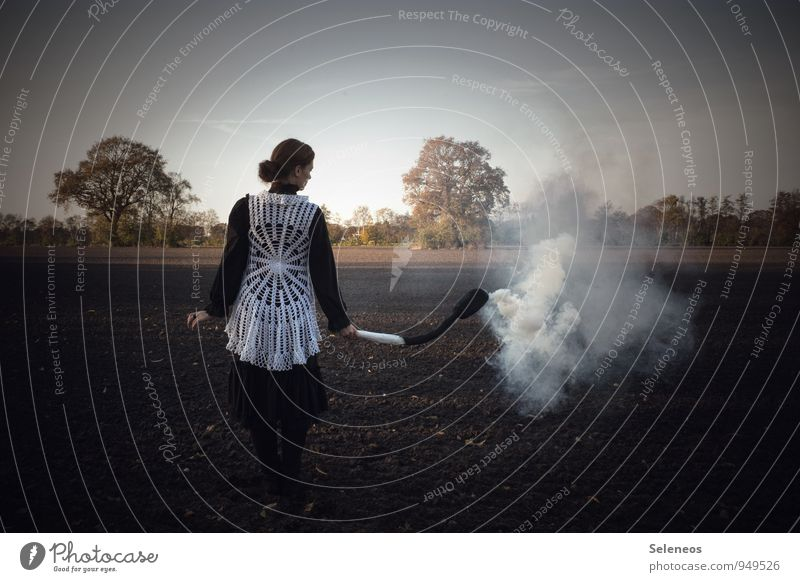 scorched earth Agriculture Forestry Human being Woman Adults 1 Environment Nature Landscape Horizon Autumn Field Match Transience Blaze Smoke Burn Colour photo