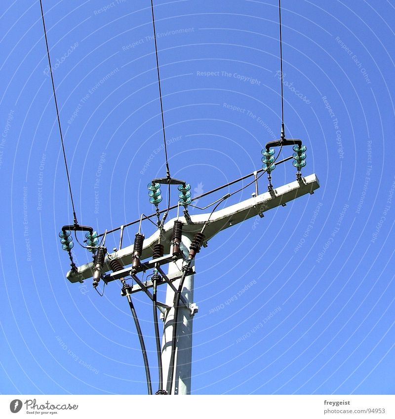 Electricity I Electricity pylon Electronic Provision Services Energy industry Sky Blue