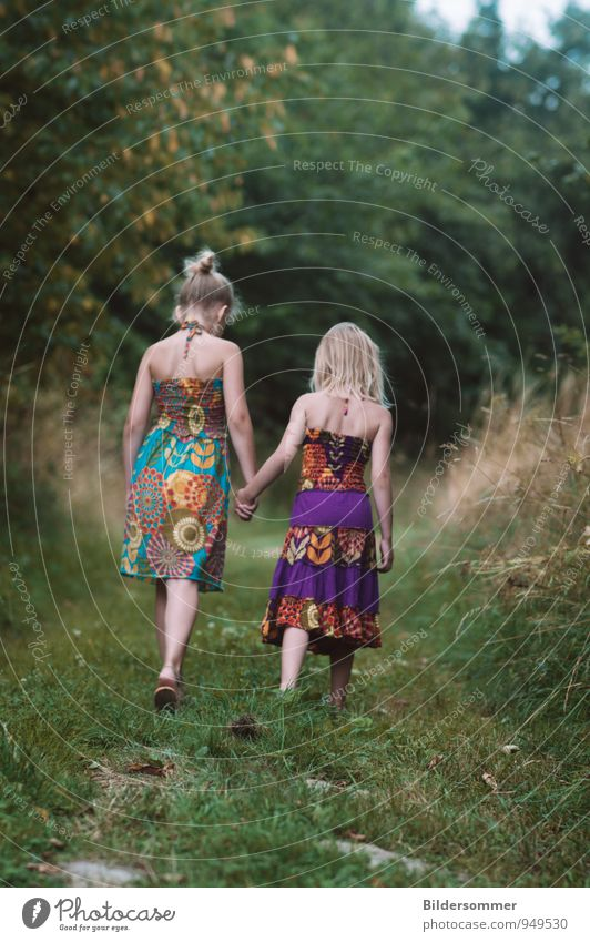 Human being Child Nature Green Girl Forest Meadow Feminine Playing Going Fashion Friendship Dream Family & Relations Leisure and hobbies Idyll