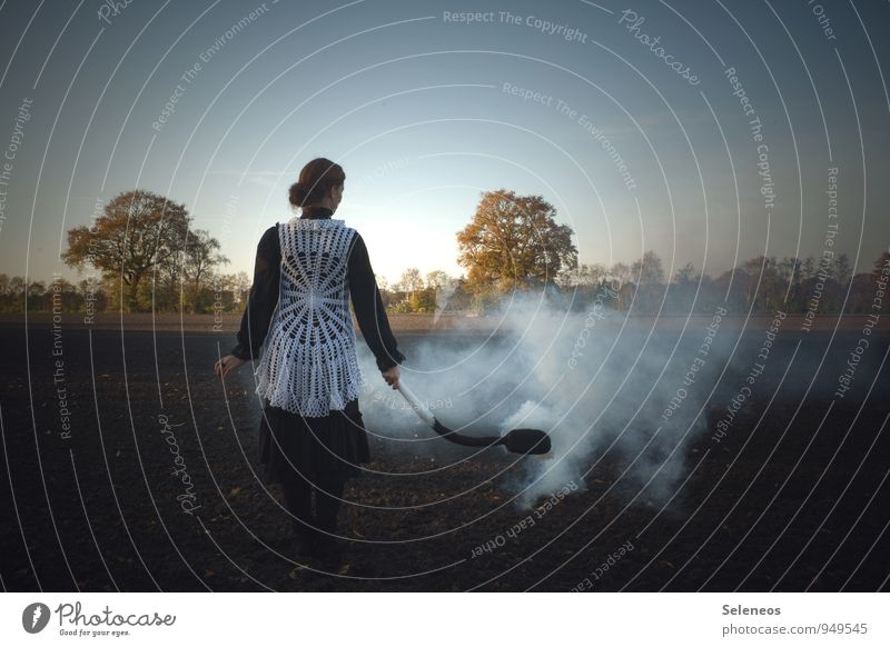 Human being Sky Nature Tree Landscape Environment Autumn Feminine Field Agriculture Smoke Burn Environmental pollution Forestry Match