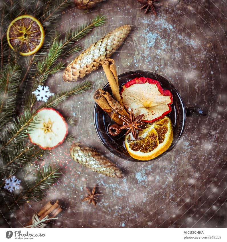 Mulled wine with dried fruit, cinnamon and aniseed Food Beverage Hot drink Tea Alcoholic drinks Cup Style Design Winter Drinking Wood Tradition Snowfall
