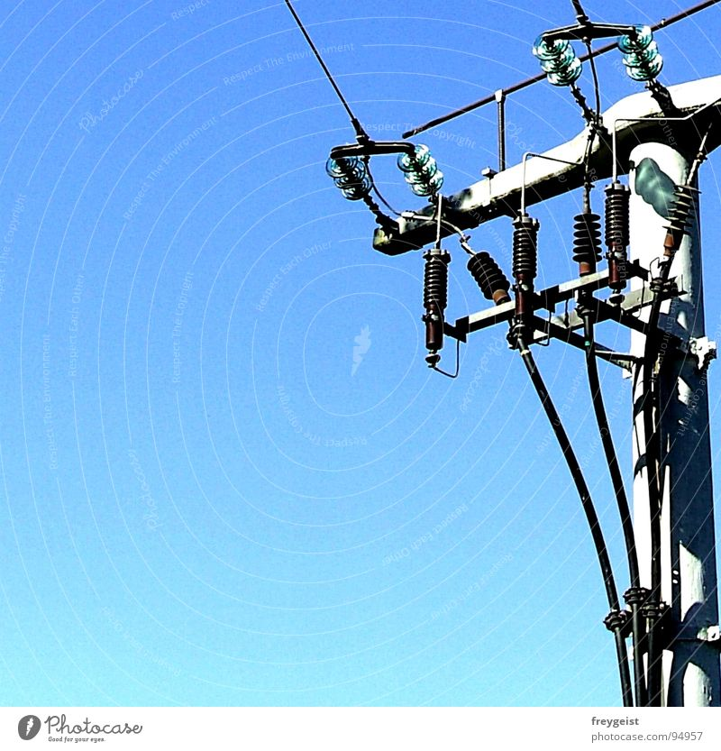 Electricity II Electricity pylon Provision Sky Services Energy industry Blue