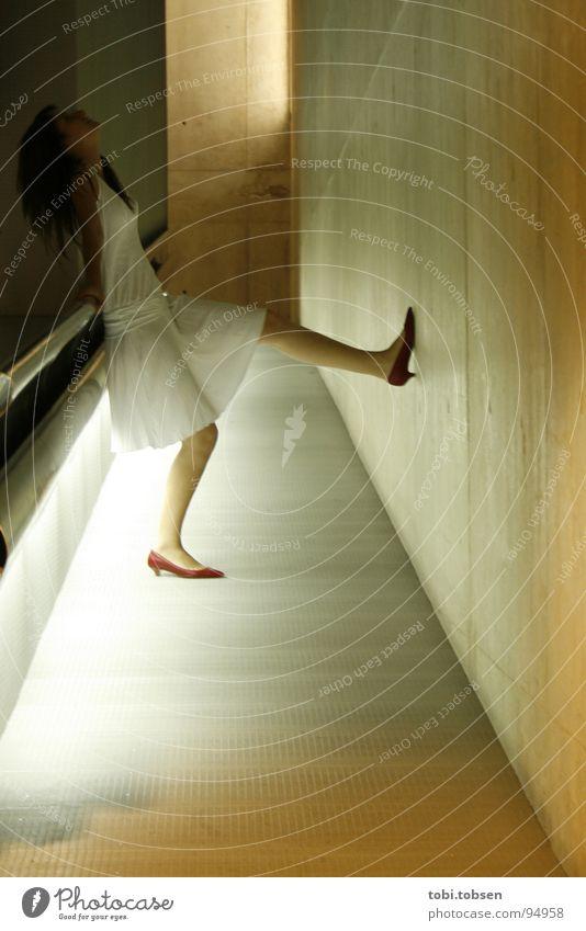 Woman White Dark Gray Concrete Dress Spain Handrail Ramp Valencia
