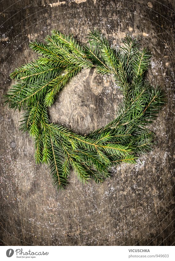 Wreath of fir branches on dark wood Design Leisure and hobbies Winter Christmas & Advent Nature Wood Retro Brown Gray Green Tradition Background picture
