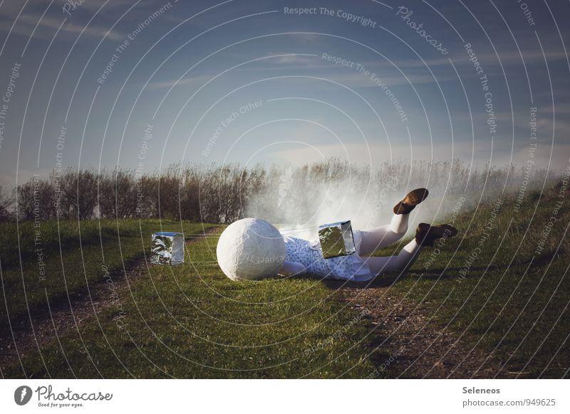 destructive pilot Technology Science & Research Advancement Future High-tech Human being 1 Environment Nature Landscape Sky Clouds Horizon Grass Park Meadow