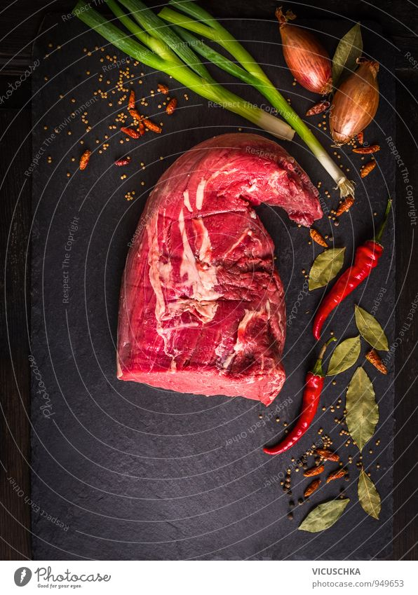 raw fillet of beef with spices on slate Food Meat Vegetable Herbs and spices Nutrition Lunch Dinner Organic produce Diet Green Red Black Design Filet mignon