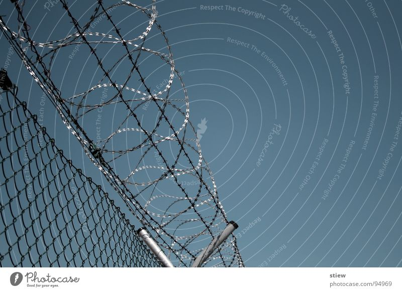privacy Barbed wire Cynical Fence Wire netting Wall (barrier) Closed Evil Narrow Repression Overwhelming Industry Fear Panic prickly feindsehlig Tall Sky