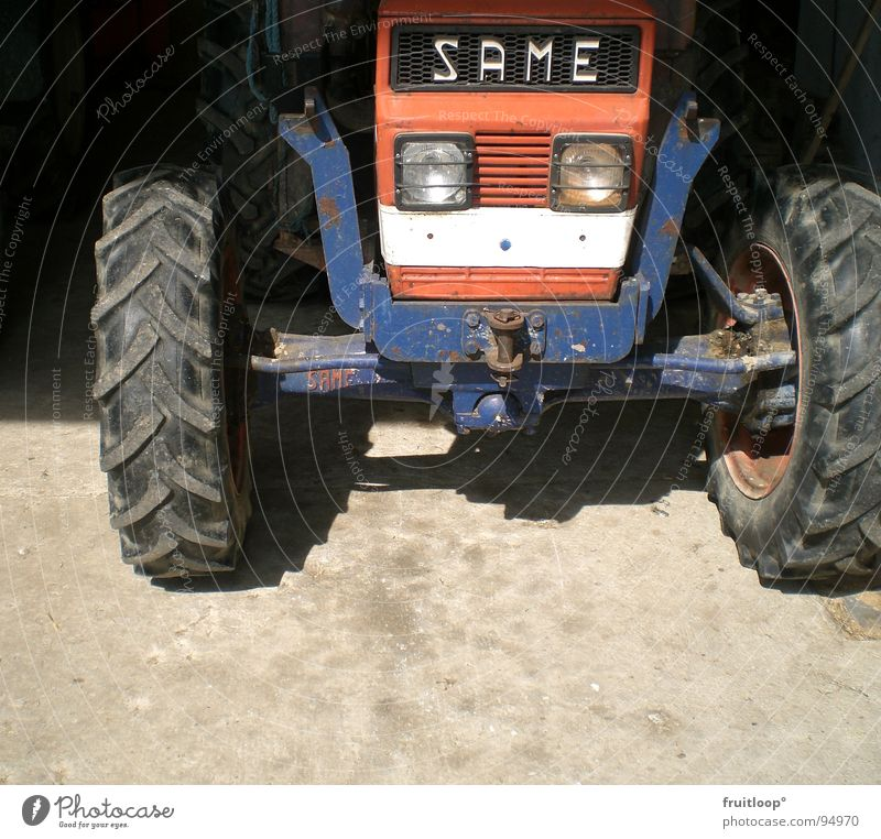 out of the dark Tractor Farm Agriculture Blue-red Transport Shadow Wheel Sun Floor covering