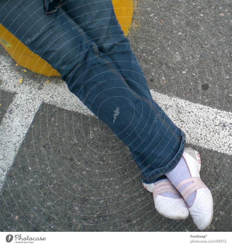 urban art chill Stripe Yellow Footwear Parking lot Traffic infrastructure Legs jean Street