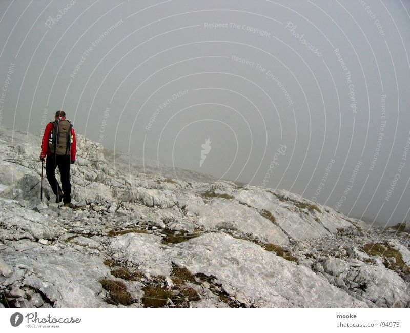 Alpspitze one Loneliness Clouds Fog Gray Mountaineer Hiking Wetterstein Garmisch-Partenkirchen Dark Tall Sparse Rock Stone alp peak