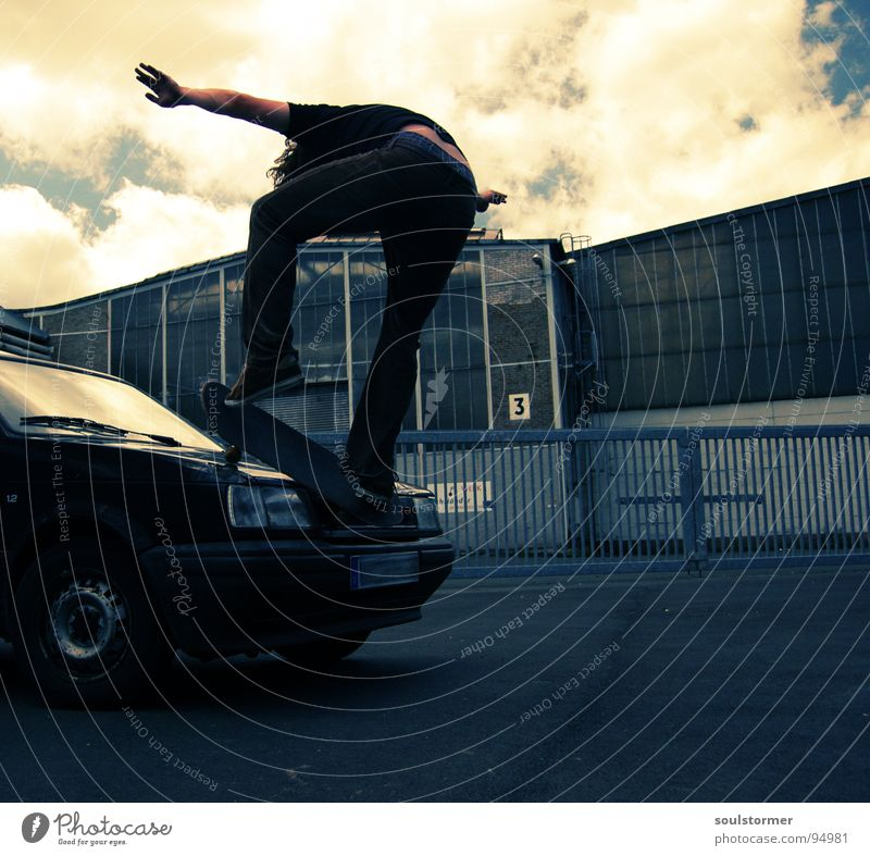 Car skate I Skateboarding Jump Hop Grind Air Acrobat Youth (Young adults) Freak Industrial district 3 Crazy Scrap metal Car Hood Clouds Tin Go crazy