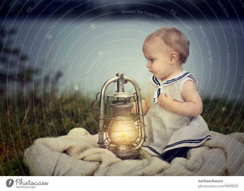 Human being Child Nature Blue Beautiful Girl Yellow Feminine Love Natural Happy Lamp Lake Dream Illuminate Infancy