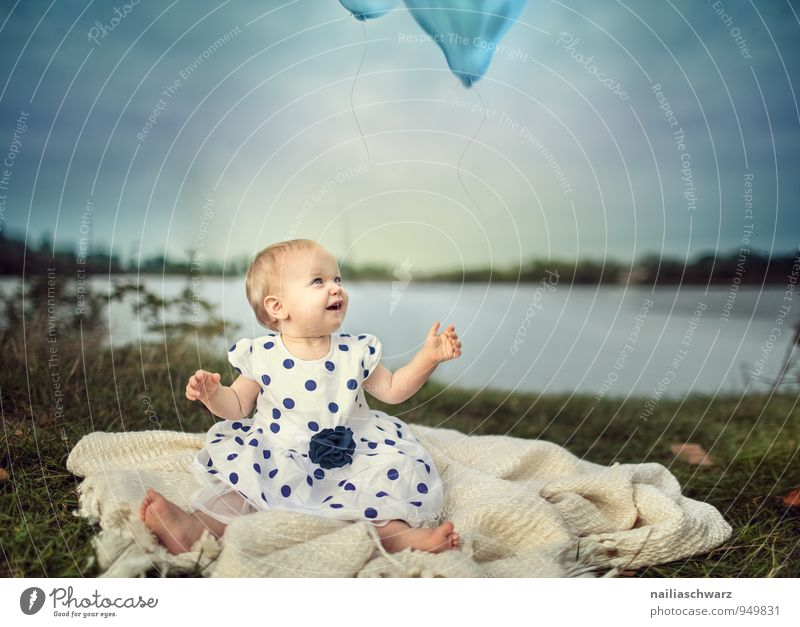 Baby at the Lake Feminine Child Toddler Girl 0 - 12 months 1 - 3 years Nature Landscape Lakeside Clothing Dress Balloon Blanket Flying To enjoy Looking Sit