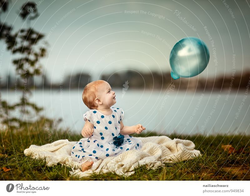 Blue Beautiful Green Joy Girl Meadow Feminine Happy Lake Moody Horizon Glittering Infancy Sit Happiness Clothing