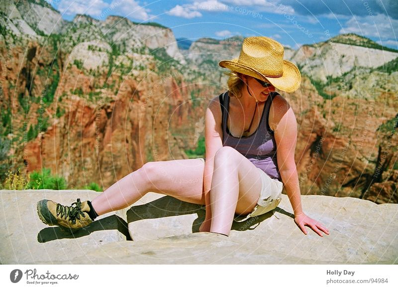 Woman Sky Nature Vacation & Travel Summer Clouds Legs Background picture Rock Sit Hiking USA Vantage point Hat Top