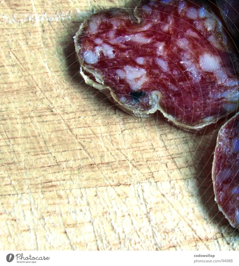 it's sausage for me Sausage Salami Aperitif Delicious Nutrition Gastronomy Meat France scared salami sausage chopping block chopping board slices Haircut