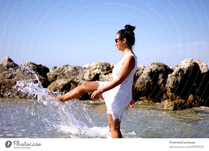 Human being Woman Vacation & Travel Youth (Young adults) Water Summer Young woman Joy 18 - 30 years Beach Adults Feminine Happy Rock Action Happiness