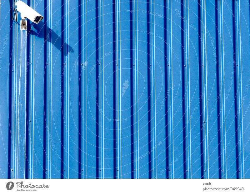 Blue City Wall (building) Wall (barrier) Freedom Line Facade Fear Technology Observe Threat Future Protection Safety Watchfulness Testing & Control