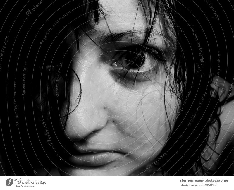 . Black-haired Piercing Lip piercing Longing Wet Self portrait Face of a woman Grief Woman wet hair Eyes black eyes Water Fear Black & white photo